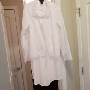 NWOT Ashley Stewart White Button Up Top with Tail